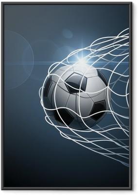 Ingelijste Poster Voetbal bal in doel. Vector
