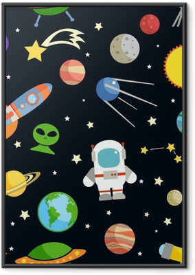 Space seamless pattern Framed Poster