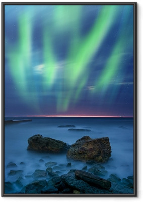 Poster in Cornice Aurora borealis sul mare