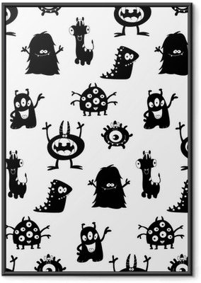 Cute monsters silhouettes pattern Framed Poster