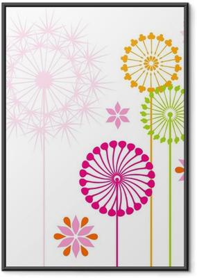 Poster en cadre Pissenlits colorés