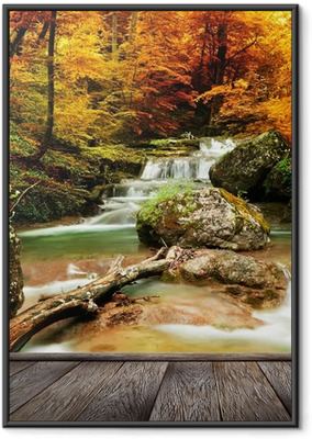 Autumn creek woods with yellow trees Framed Poster
