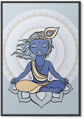 Ingelijste Poster Hindoe god Krishna.
