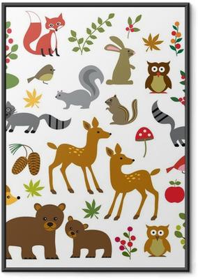 Poster en cadre Bois faune cliparts - Mammifères