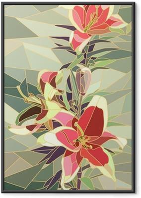 Gerahmtes Poster Vektor-Illustration von Blumen rosa Lilie.