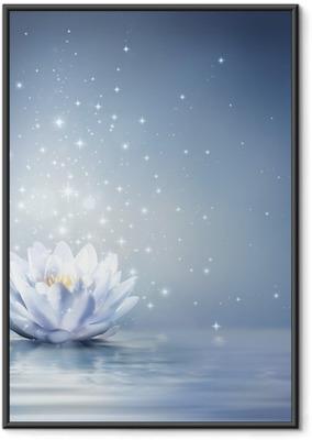 Gerahmtes Poster Seerose hellblau auf dem Wasser - Märchen Hintergrund