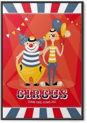 Poster en cadre Carte de vecteur avec des clowns