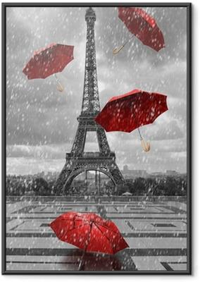 Ingelijste Poster Eiffel toren met vliegende paraplu's.