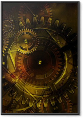 steampunk old gear mechanism on the background of old vintage pa Framed Poster