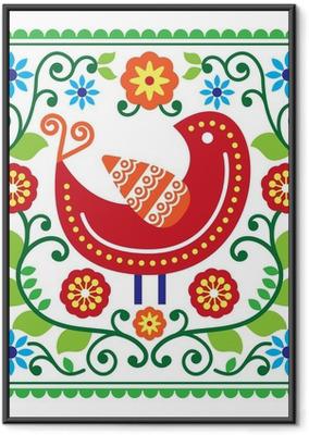 Poster en cadre Modèle vectoriel d'art populaire avec des oiseaux et des fleurs