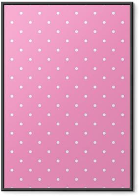 Flise vektor mønster med hvide polka prikker på lyserød baggrund Indrammet plakat