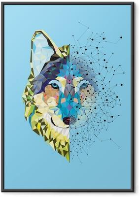 Ingelijste Poster Hoofd van de wolf in geometrische patroon met ster lijn vector