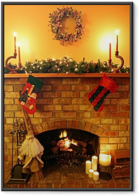 Ingelijste Poster Kerstmis Fireside