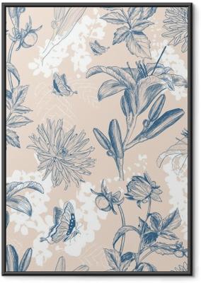 retro flower vector illustration Framed Poster