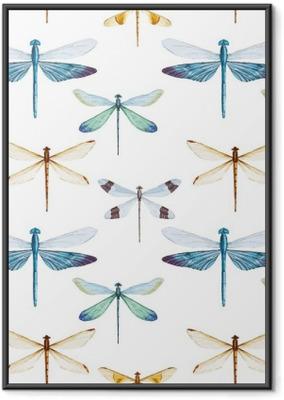 Poster en cadre Libellules Aquarelle motif