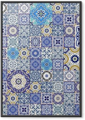 Ingelijste Poster Mega naadloze patchwork patroon van kleurrijke Marokkaanse tegels