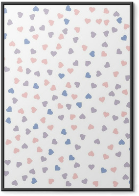Heart seamless pattern. Vector illustration. Rose quartz and serenity colors. Framed Poster