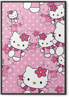 Póster com Moldura Hello Kitty