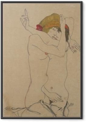 Ingelijste Poster Egon Schiele - Twee vrouwen omarmen elkaar