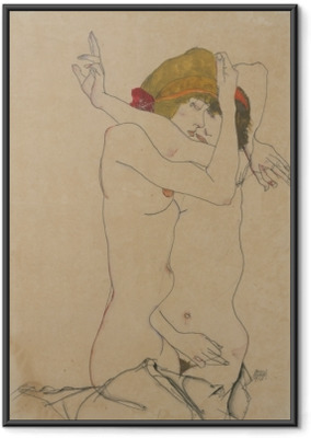 Poster en cadre Egon Schiele - Deux femmes s'embrassant