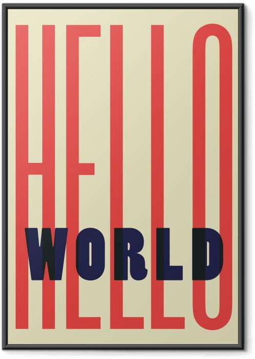 Ingelijste Poster Hello World -
