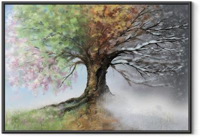 Digital illustration of four seasons tree Framed Poster