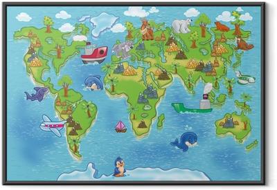 Ingelijste Poster Kids wereldkaart