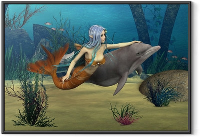 Mermaid and Dolphin Framed Poster