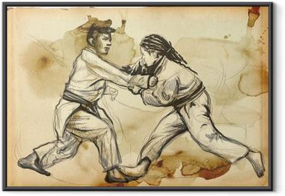 Gerahmtes Poster Judo - ein voller Größe Hand gezeichnete Illustration