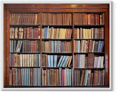 Póster Enmarcado Vieja estantería de la biblioteca