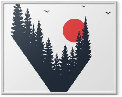 Plakát v rámu Ručně kreslený cestovní odznak s jedlemi stromy texturou vektorové ilustrace.