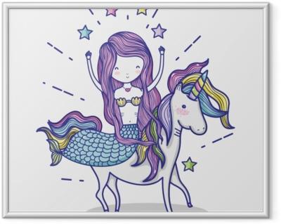 Póster com Moldura Pequena sereia com desenhos animados de arte de unicórnio