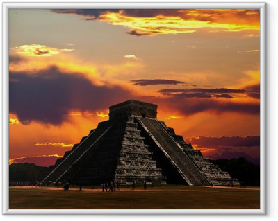 The temples of chichen itza temple in Mexico Framed Poster
