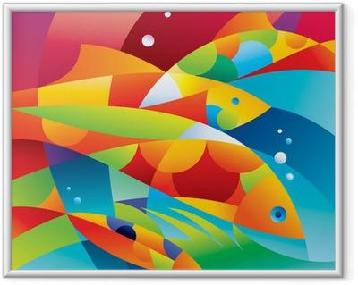 Çerçeveli Poster Mercan kayalığı yakın Özet renkli balıklar