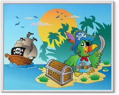 Ingelijste Poster Piraat papegaai en borst op eiland