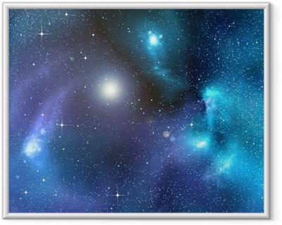 Stjerneklar baggrund af dybt ydre rum Indrammet plakat