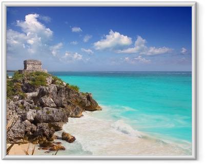 Gerahmtes Poster Maya-Ruinen Tulum türkisfarbenen karibischen