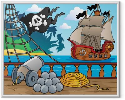 Póster Enmarcado Barco pirata baraja tema 4