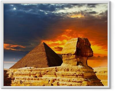 Poster en cadre Grand Sphinx et les Pyramides au coucher du soleil