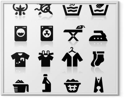 Póster Enmarcado Icono de lavandería
