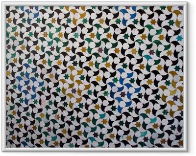 Gerahmtes Poster Bunte Fliesen, arabischen Stil, in der Alhambra, Granada