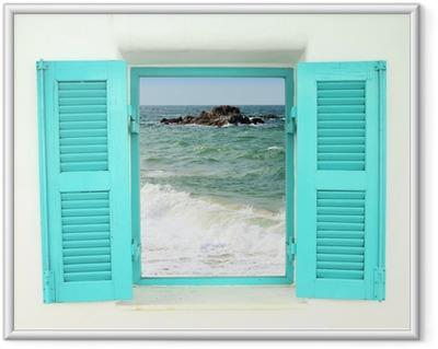 Póster Enmarcado Ventana de estilo griego con vista al mar