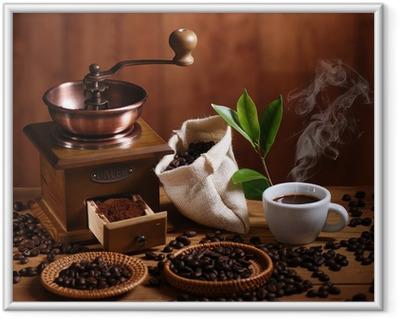 Póster com Moldura tazza di caffè espresso con macinino in legno
