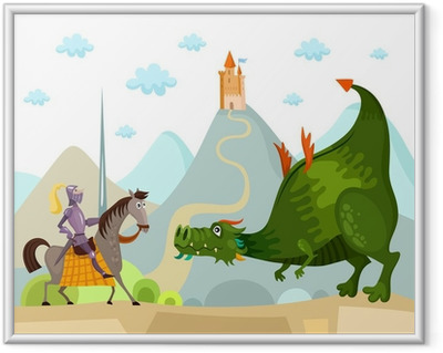 dragon and knight Framed Poster