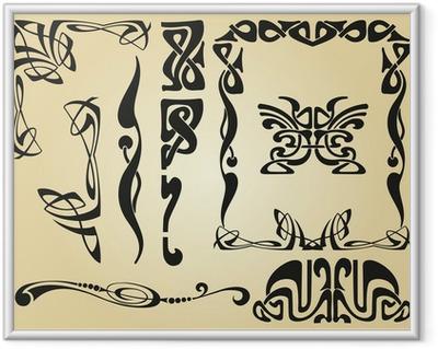 Plakat w ramie Secesyjny wzór i elementy ramy
