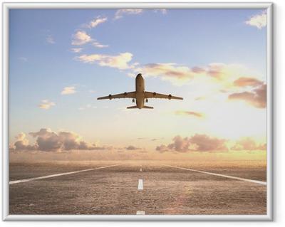 Flyvemaskine på landingsbanen Indrammet plakat