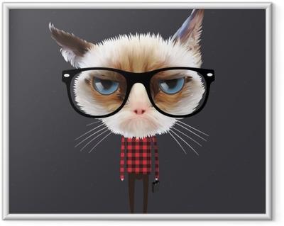 Çerçeveli Poster Komik karikatür kedi, vektör Eps10 illüstrasyon.