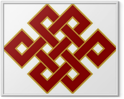 Gerahmtes Poster Tibetanischer Endlos Knoten - Glückssymbol