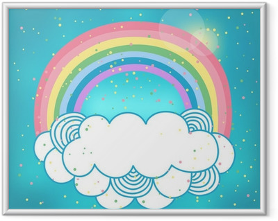 Çerçeveli Poster Gökkuşağı ve bulut Kart.