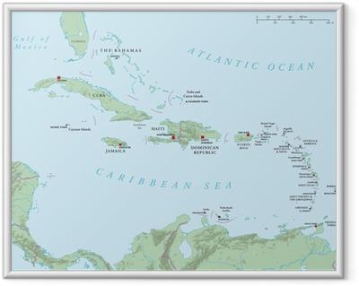 Poster en cadre Caraïbes - grandes et petites Antilles - Carte politique